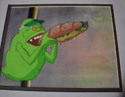 Original Hand Painted Animation Cel Ghostbusters Eating A Sandwich
