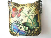 Anuschka Butterfly Tan Hand Painted Leather Convertible Hobo Purse - New