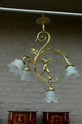Gorgeous French Bronze Putti Angel 4 Arm Chandelier Pendant Lamp Shades N2