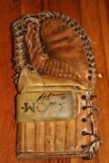 Vintage 1960's Ccm Pro Model Goalie Glove Trapper Signed Bruins Gerry Cheevers