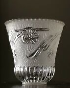 Vintage Iris Ribbed Frosted Pressed Glass Shade Neckless Flat Fitter