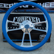 14 Billet Steering Wheel For Chevy Gm Ford Dodge - Blue Wrap And Horn Button