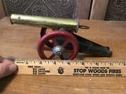 Vintage Metal Tin Toy Army Canon With Red Wheels And Pull Back Firing Pin