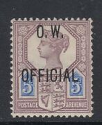 Gb Qv Queen Victoria Official 5d O.w. Office Of Work Ow Stamp Sgo34-mounted Mint