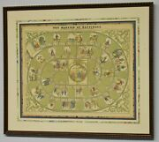 Antique The Mansion Of Happiness Game Board Parker Brothers Framed And Matted