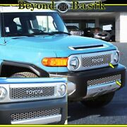 For 2007-2012 2013 2014 Toyota Fj Cruiser Stainless Steel Top+bottom Grill Trims