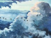 Pilot's View Flying Geese Clouds Birds Decoy Oil Painting Old Large