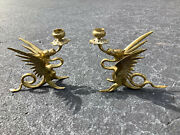 Candle Holders Signed Pair Dragon/griffin Formsolid Brass Vgc