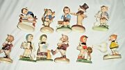 Lot Of 11 Vintage Plastic Ornaments Boy And Girl Hummel Look Valentines Card