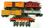 Lot Of 5 Lionel Postwar Freight Cars Reefer Cattle Tank Caboose And More B79-3