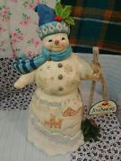 Jim Shore Heartwood Creek 'winter Is Calling' Snowman With Broom 10 6001476