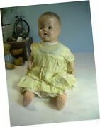 Vintage Lovely Antique Composition Doll Baby 18 Original Clothes Tin Sleep Eyes