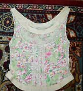 Blumarine Italy Silk Camisole Stretch Top Tank Ivory/greenfloral Size-it-34/us-4