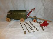 Vintage Hubley Cast Iron Bell Telephone Truck And Accessories, Toy