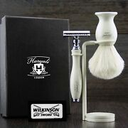 Vintage Double Edge Safety Shaving Razor And Badger Hair Shaving Brush And Stand