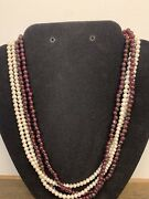 Freshwater Pearls And Garnet Necklace 4 Strings