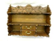 R-- Vintage Wooden Hanging Shelf With Drawers 25 Wide