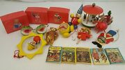 Vintage 80s Wood Wooden Ornaments And Tiny Books Lot Of 19 Germany