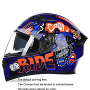 Motorcycle Racing Personality Cool Anti-fog Double Mirror Full Face Helmet
