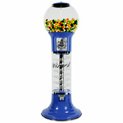 Original Wizard Spiral Gumball Machine Blue Red Track Color 25 Cents Mech