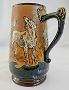 Antique Doulton Lambeth Signed Hannah Barlow Pitcher W/ Dogs. 9h 1874