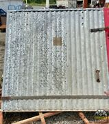 Antique Industrial Galvanized Steel 1918 Fire Door Corrugated 5 Ft Tall Andwide