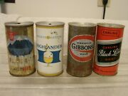 4 12 Oz. P/t Beer Cans Ox-bow - Gibbons - Highlander - Clack Label Zip Tab Ale