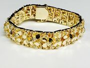 10k Solid Yellow Gold Handmade Menand039s Nugget Bracelet 16.5 Mm110 Grams 9