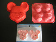 Mickey Mouse Birthday Mini Cake Pan Cookie Cutter Chocolate Candy Mold Set Of 3
