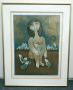Artist Proof Samy Bliss Pencil Signed Girl With Birds 14x18 Frame Matted 19x23