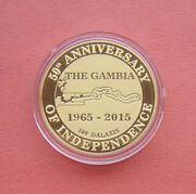 Gambia 2015 50 Years Of Independence 500 Dalasis Silver Proof Coin Mintage 200