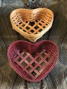 Pair Of Workshops Of Gerald E. Henn Woven Wood Heart Shaped Baskets Red And Clear
