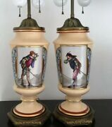 """Pair Of Vintage Porcelain Lamps W/ French Or Italian Cavaliers Beautiful H 31"""""""