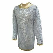Medieval Aluminium Chain Mail Hauberk Flat Riveted And Ring Chainmail Costumes Xl