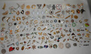 Huge Lot Of 180 Vintage Costume Jewelry Brooch Pins Signed Figural