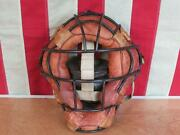 Vintage 1930s Baseball Catchers Face Mask Guard Metal Cage Leather Pads Antique