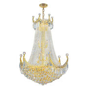 24-lights Gold Finish 30and039and039 X 40 Empire Clear Crystal Chandelier Pendant Light
