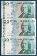Sweden 100 Kronor 3 Yr Type Lot 2002 2006 2010 P 65a 65c Vf