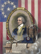 General George Washington 1856 Hand Colored Engraving Pine Line Of Battle Master