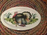 Vtg X-large Eandr Italy Oval Serving Platter Dish Hand Painted Turkey 24x15