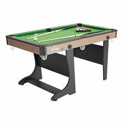 60 Folding Small Pool Table With Accessories Green Cloth Billiard 5 Foot Kids