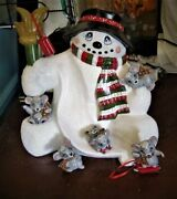 Ceramic Bisque Hand-painted Snowman Hill Sledding Mice