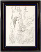 Christian Riese Lassen Original Ink Drawing Nude Female Portrait Tiger Signed
