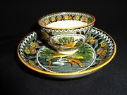 Rare Antique 19th.c Salopian Soft Paste China Robin Pattern Cup And Saucer, J