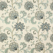 Manuel Canovassona Floral Woven/embroidered Upholstery Fabric 10 Yards Blue