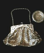 Antique Whiting And Davis Silver-tone Chainmail Purse With Matching Compact