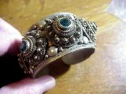 Vintage Siam Sterling Heavy Cuff Bracelet With Jade Green Jewels