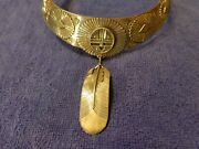 Signed Sterling Silver American Southwest Eddy Chaco Gorget Style Necklace