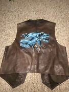Leather Snap Front Biker Vest Airbrushed By Mickey Harris Art