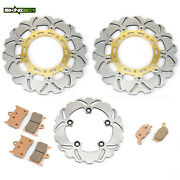 Yzf R6 2005-2016 Front Rear Brake Rotors Discs Pads For Yamaha Yzf-r6 Wave Gold